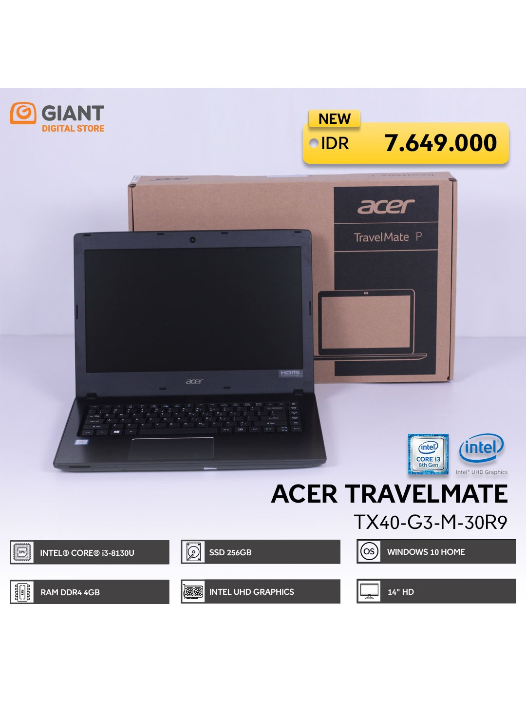 "ACER TMTX40-G3-M-30R9 (I3-8130U / 4GB DDR4 / 256GB SSD / 14"" HD / VGA INTEL UHD GRAPHICS / WIN10) BLACK"
